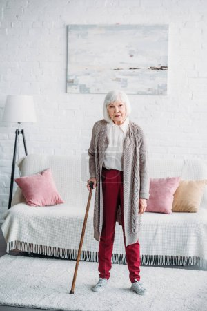 grey hair lady with wooden walking stick standing in middle of room at home
