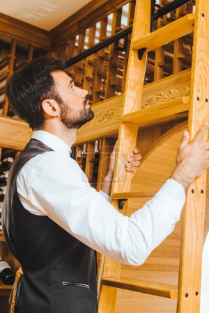 handsome young wine steward with ladder at wine store
