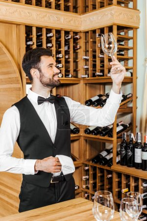 handsome young wine steward checking clean glass at wine store