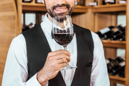 cropped shot of smiling sommelier sniffing red wine from glass at wine store