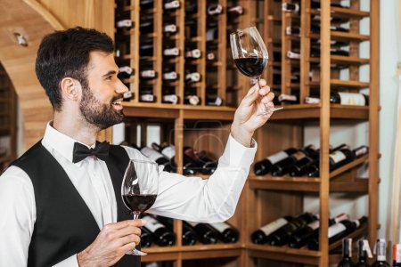 handsome young sommelier examining color of wine at wine store