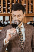 handsome young sommelier examining aroma of wine from glass at wine store