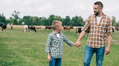happy father and son holding hands and smiling each other at farm