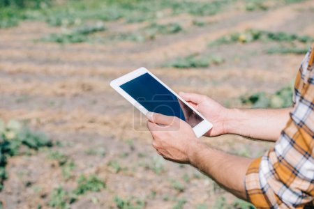 cropped shot of farmer using digital tablet with blank screen while standing on field
