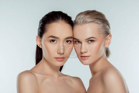 beautiful nude multiethnic girls, isolated on grey, natural beauty