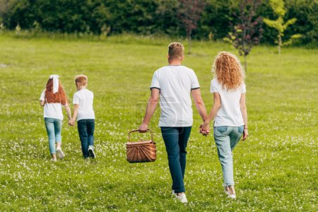 back view of family holding hands and walking with picnic basket in park