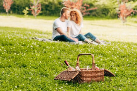 close-up view of picnic basket with bottle of wine and couple sitting on lawn bhind at park