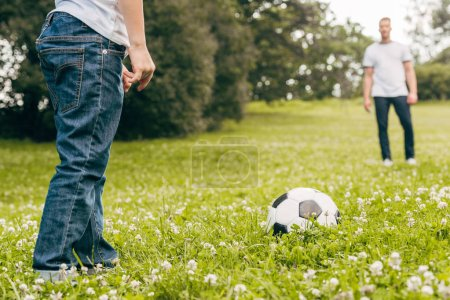 cropped shot of father and son playing with soccer ball in park