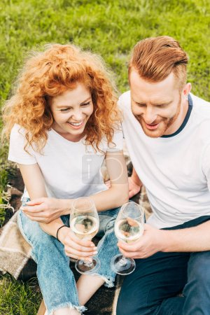 high angle view of happy redhead couple holding glasses of wine at picnic in park