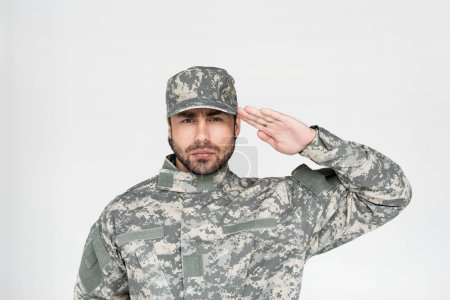 portrait of confident bearded soldier in military uniform saluting isolated on grey