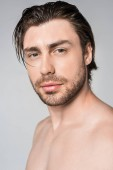 portrait of pensive shirtless man with stylish hairstyle looking at camera isolated on grey