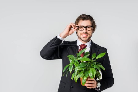 portrait of smiling businessman in suit and eyeglasses with green plant in flowerpot