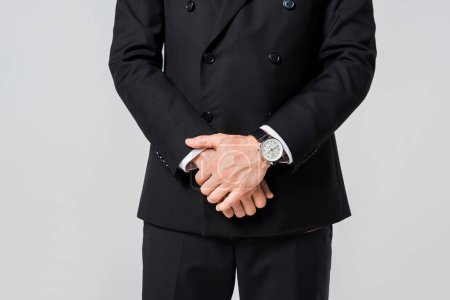 Photo for Partial view of businessman in black suit isolated on grey - Royalty Free Image