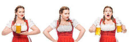 Photo for Oktoberfest waitress in traditional bavarian dress with light beer in three different positions isolated on white background - Royalty Free Image