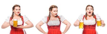serveuse oktoberfest en robe bavaroise traditionnelle avec bière légère dans trois positions différentes isolées sur fond blanc
