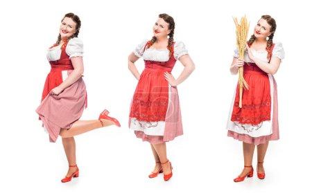 Photo pour Serveuse souriante oktoberfest en robe bavaroise traditionnelle dans trois positions différentes isolées sur fond blanc - image libre de droit