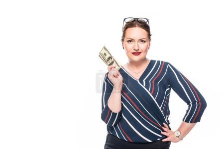 beautiful businesswoman holding dollar banknotes isolated on white background