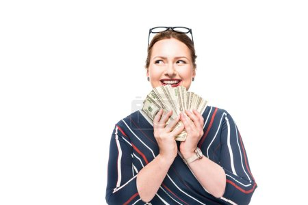 excited businesswoman with dollar banknotes isolated on white background