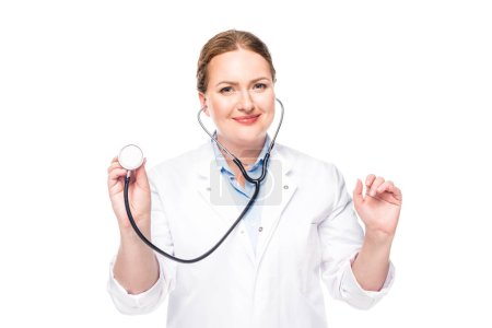 attractive female doctor in white coat with stethoscope isolated on white background