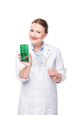 happy female doctor presenting smartphone with heart rate monitor on screen isolated on white background