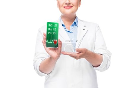 partial view of female doctor pointing at smartphone with heart rate monitor on screen isolated on white background