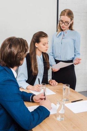confident team of business people working together at modern office