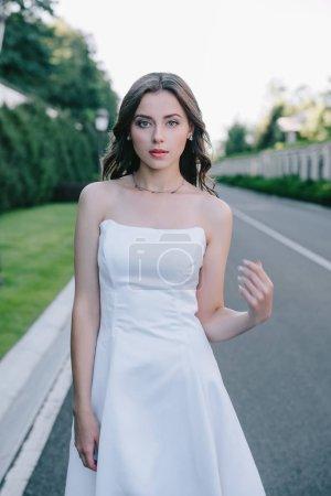 Photo pour Belle mariée romantique en robe de mariée posant sur route - image libre de droit