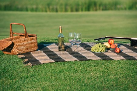 picnic with wicker basket, white wine, fruits and acoustic guitar on blanket on green lawn
