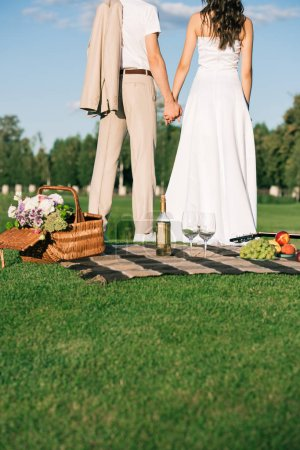 cropped back view of wedding couple holding hands on picnic on lawn