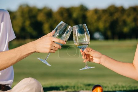 cropped view of couple clinking with wine glasses on picnic