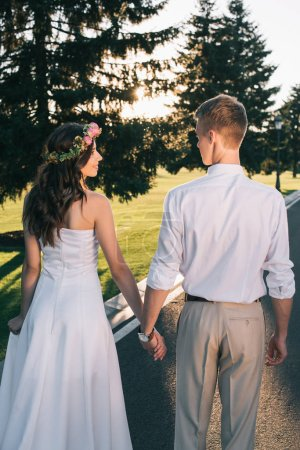 back view of beautiful young wedding couple holding hands and walking on road in park