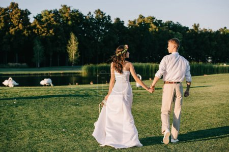 Photo pour Vue arrière du jeune couple de mariage tenant la main et marchant près du lac avec de beaux cygnes - image libre de droit