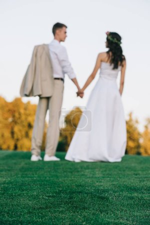back view of young wedding couple holding hands and standing on green lawn