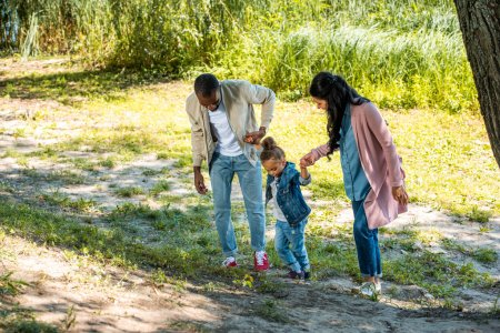african american parents and daughter holding hands and walking on hill in park