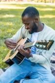 """Постер, картина, фотообои """"улыбаясь афро-американский красавец акустической гитаре в парке"""""""