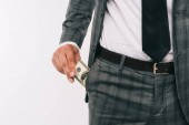 cropped image of businessman taking dollar from pocket isolated on white