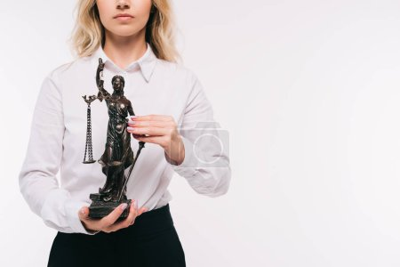 Photo for Cropped image of lawyer holding themis statue isolated on white - Royalty Free Image
