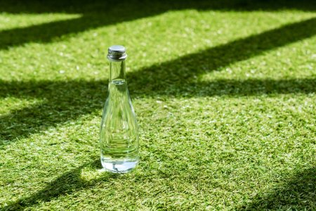 close-up shot of glass bottle of water on green grass
