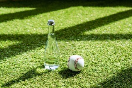 glass water battle with baseball ball lying on green grass