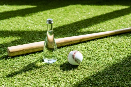 glass water battle with baseball ball and bat lying on green grass