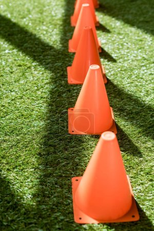 row of safety cones standing on green grass