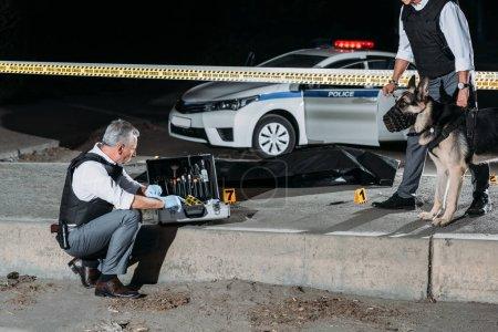 Foto de Policía hombre sentado junto a la caja para herramientas de investigación mientras que su colega de pie junto con el perro con correa en la escena del crimen con el cadáver - Imagen libre de derechos