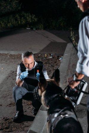 Foto de Madura policía en guantes de latex mostrando evidencia a Pastor Alemán mientras su colega de pie junto a la escena del crimen - Imagen libre de derechos
