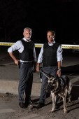 mature male police officers in bulletproof vests standing with dog on leash near cross line at crime scene