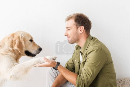 golden retriever dog giving paw to happy man against white wall