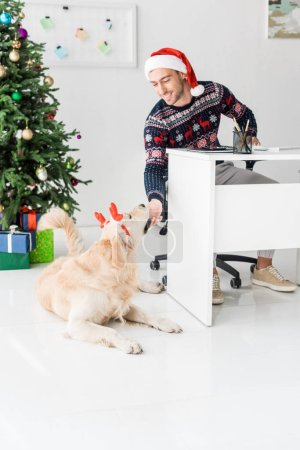 smiling man in santa hat looking at funny golden retriever in deer horns