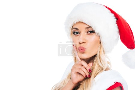 Photo for Attractive santa girl in christmas dress and hat doing duck face isolated on white background - Royalty Free Image