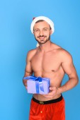sexy shirtless muscular man in christmas hat holding gift box isolated on blue background
