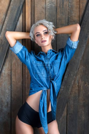 sexy young woman in denim shirt and panties standing in front of rustic wooden door and looking at camera