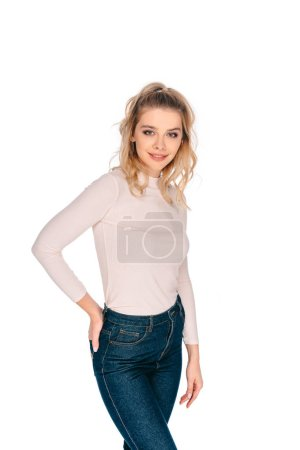 portrait of beautiful young blonde woman smiling at camera isolated on white